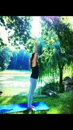 Yoga by the pond