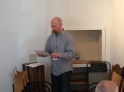 Micah Dean Hicks shared a flash fiction piece and a nonfiction piece during the reading.