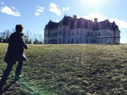 Stephen Aubrey exploring the grounds of a Newport mansion