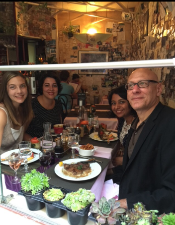 CWW Staff having dinner on the first night (From left to right: Elissa Lewis, Diana Norma Szokolyai, Rita Banerjee, and David Shields