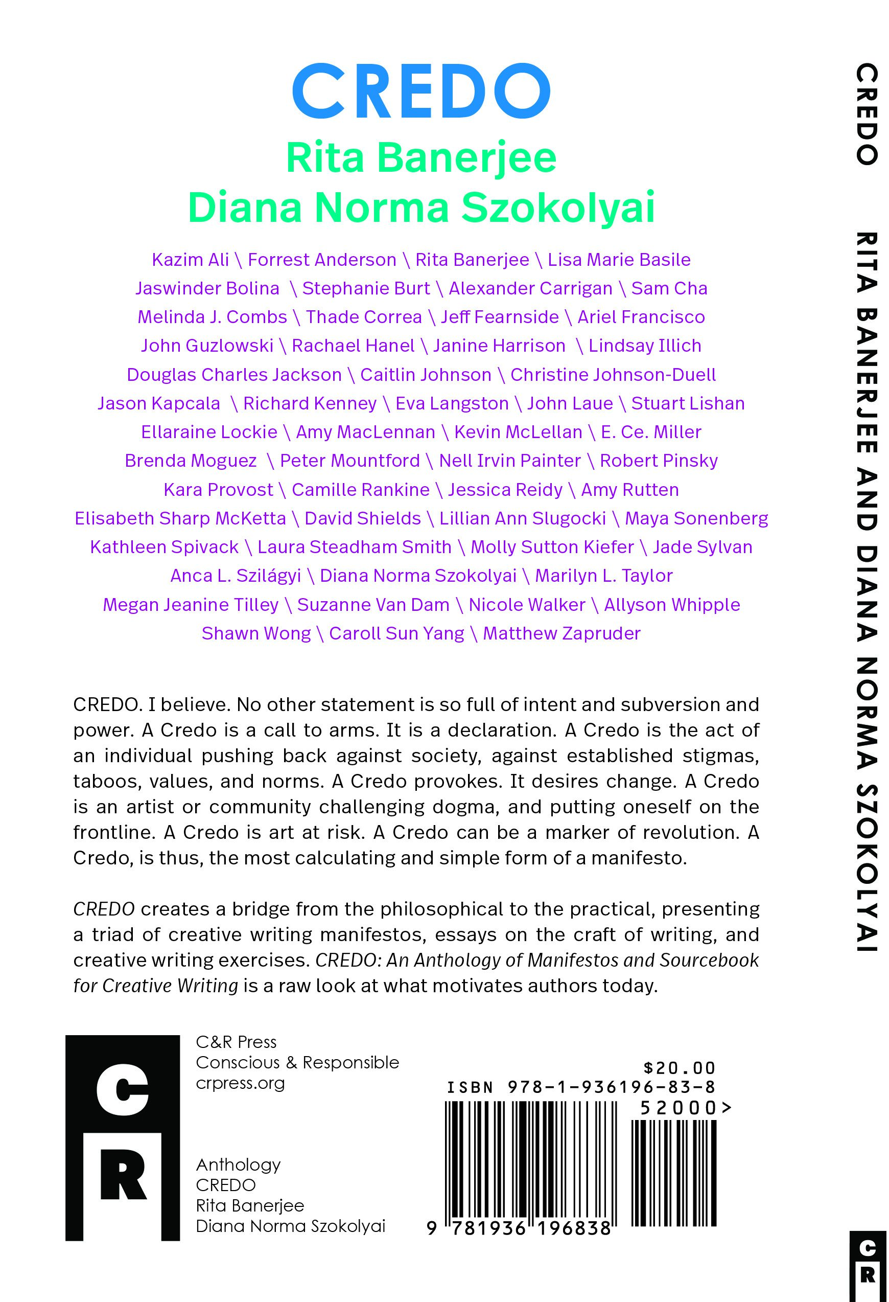 Meet Our Contributing Authors from CREDO: An Anthology of Manifestos ...