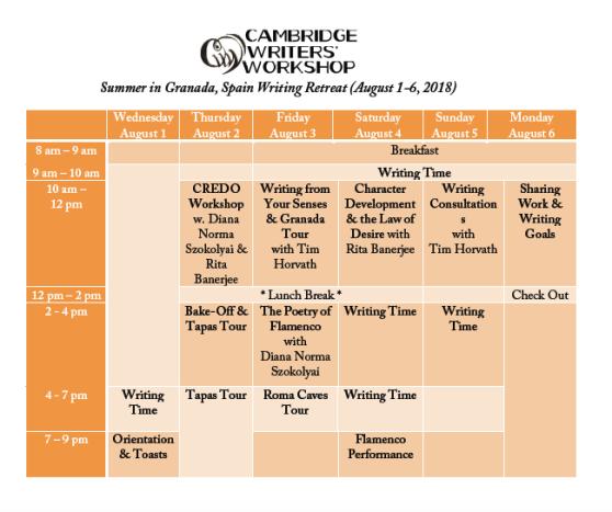 CWW-Granada2018Schedule